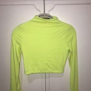 Neon Yellow High Neck Long Sleeve